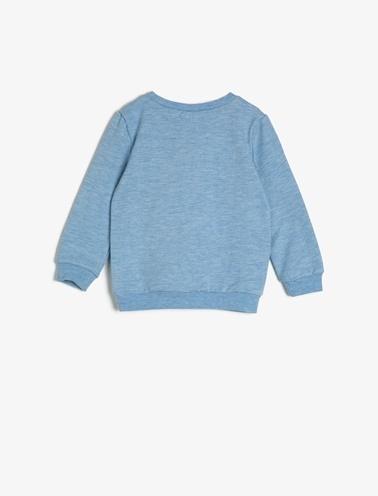 Koton Kids Crew Neck, Long Sleeve, Letter Printed Sweatshirt Mavi
